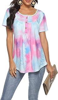 Choha Womens Tops Summer Tie Dye T Shirt Women Casual Short Sleeve Tunic Tops