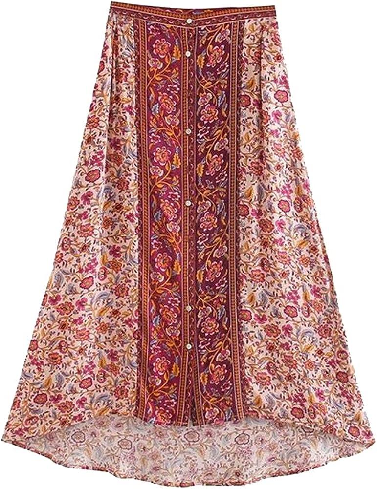 CHIC&TNK Women Florals Print Beach Maxi Skirt High Elastic Waist Asymmetrical Femme