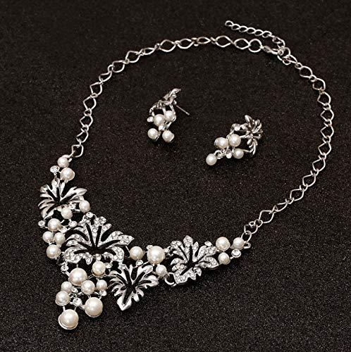 Set Di Gioielli Da Donna Gioielli Di Perle Imitazione Fiore Set Di Orecchini Da Sposa In Argento Con Collana Di Gioielli