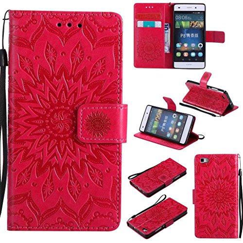 BoxTii Coque Huawei P8 Lite, Etui en Cuir de Première Qualité [avec Gratuit Protection D'écran en Verre Trempé], Housse Coque pour Huawei P8 Lite (#5 Rouge)