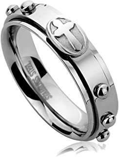 6MM Stainless Steel Mens Womens Rings Casting Cross Rosary Comfort Fit Spinner Praying Wedding Bands