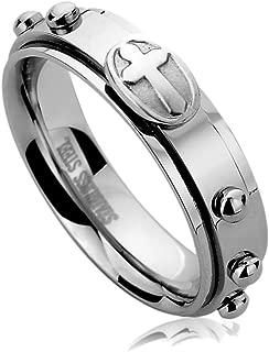 6mm Stainless Steel Wedding Band Ring for Men & Women Casting Cross Rosary Ring for Men & Woman