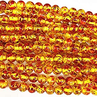 Calvas Wholesale Round Bodhi Bead Fire Golden Resin Ambers Prayer Loose Beads Faux Beeswax Acrylic Spacer Plate Jewelry Making 15