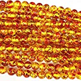 Calvas Wholesale Round Bodhi Bead Fire Golden Resin Ambers Prayer Loose Beads Faux Beeswax Acrylic Spacer Plate Jewelry Making 15' A210 - (Item Diameter: 6mm)