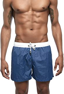 Vickyleb Men Swimming Trunk Quick Dry Summer Shorts Surf Beach Swim Trunks Elastic Waist with Pocket Drawstring