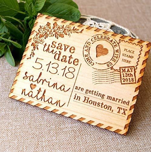 Save the Date Magnete für Hochzeit, personalisierte Holzmagnete, 5 St.