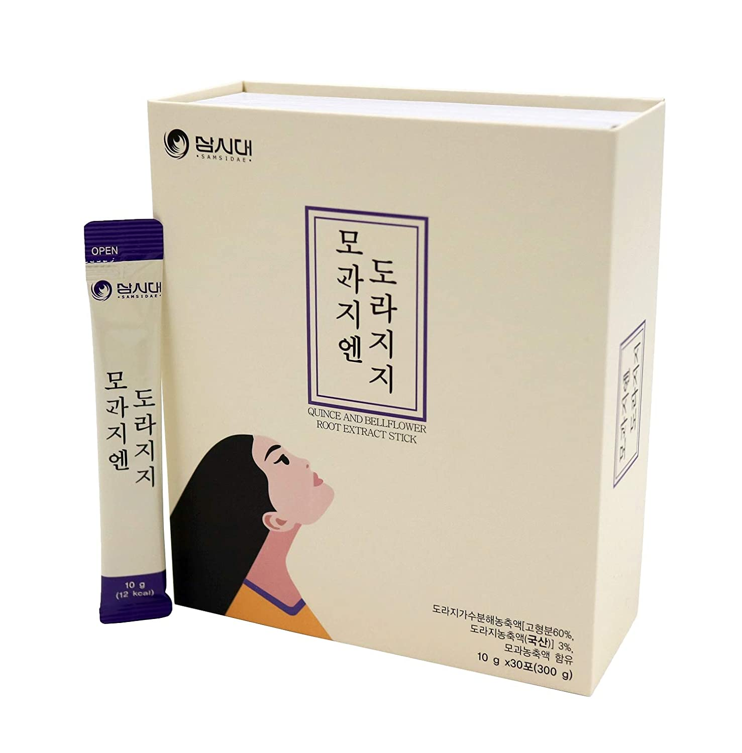 SamSiDae Korean Bellflower Root Extract, Pear Extract and Quince Extract Stick (10g X 30 stick pouches). Good source of Fiber, Potassium, Magnesium, Vitamin C&K. Men, Women and all ages.