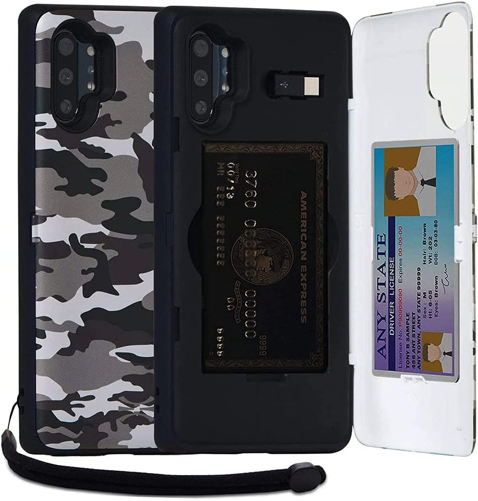TORU CX PRO Compatible with Samsung Galaxy Note 10 Plus/Note 10 Plus 5G Wallet Case - Protective Dual Layer with Hidden Card Holder, ID Slot Hard Cover, Strap, Mirror & USB Adapter - Camouflage