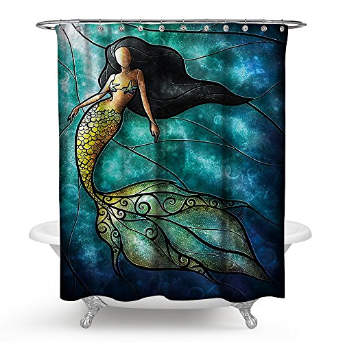 Gorgeous Navy and Aqua Blue Bathroom Shower Curtain with Beautiful Brunette Mermaid