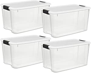 STERILITE 70 Quart/66 Liter Ultra Latch Box, Clear with a White Lid and Black Latches,