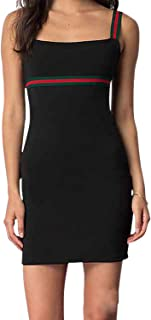 Women's Short Dress with Elastic Striped Straps