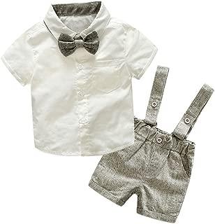 Tem Doger Baby Boys Cotton Gentleman Bowtie Long Sleeve Shirt+Overalls Shorts Outfits Set