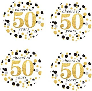 """2"""" Round 50 Pack of Cheers to 50 Years Label Stickers Birthday Party Sticker Labels 50th Birthday Party Favor Stickers 50t..."""