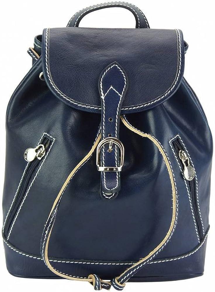 florence leather market luminosa, zaino per donna, in vera pelle di vitello, blu backpacks 6559