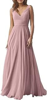 Women's Double V Neck Long Bridesmaid Dress Wedding Evening Dress