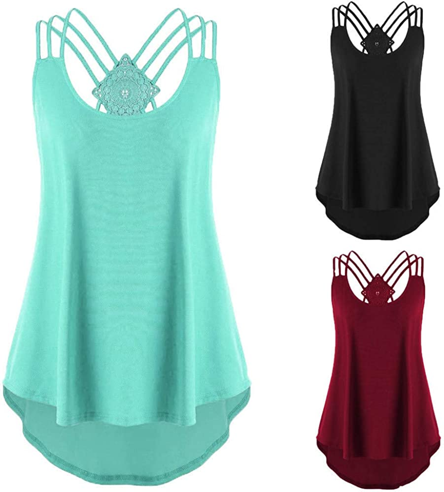 Tank Tops for Women,Womens Summer Tops Fashion Shirts Sleeveless Blouse Loose Spaghetti Strap Soft Camisoles Tee