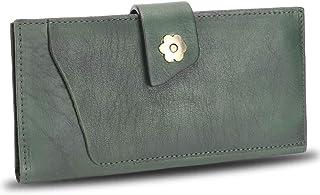Genuine Leather Wallet for Women Soft Thin Purse Money Case Card Organizer Vintage Cowhide Money Clip (Green)