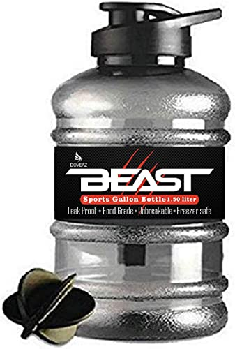 DOVEAZ Beast Sports Water Bottle / Protein Shaker Bottle / Gallon water Bottle (1.5 LTR) with Mixer Ball and Strainer...