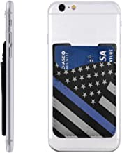 Thin Blue Line Police Flag Mobile Phone Card Package PU Leather Waterproof Stick On Cell Phone Wallet Pocket Credit Card Holder for Most Smartphones 2.43.5 in