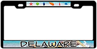 Black License Plate Frame Holder, Aluminum Metal License Plate Cover with Screw, 2 Hole Bracket Standard Size for US Vehicles