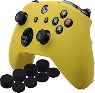 YoRHa Silicone Cover Skin Case for Microsoft Xbox One X & Xbox One S Controller x 1(Yellow) with Pro Thumb Grips 8 Pieces