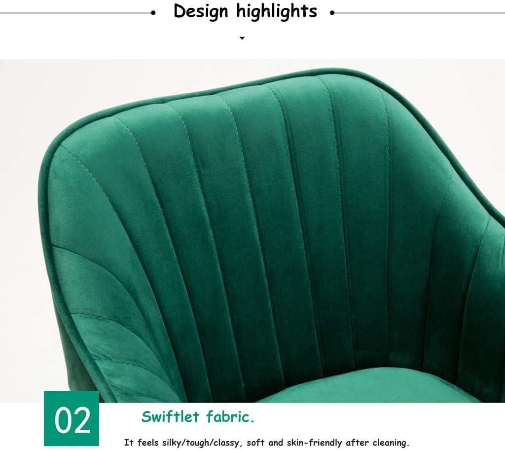 chaise FHW Velvet café, Accueil Tissu d'ordinateur, Hauteur Ajustable, Coussin de siège Amovible, Solide en Acier Disque Pied (Color : Light Blue) Light Blue