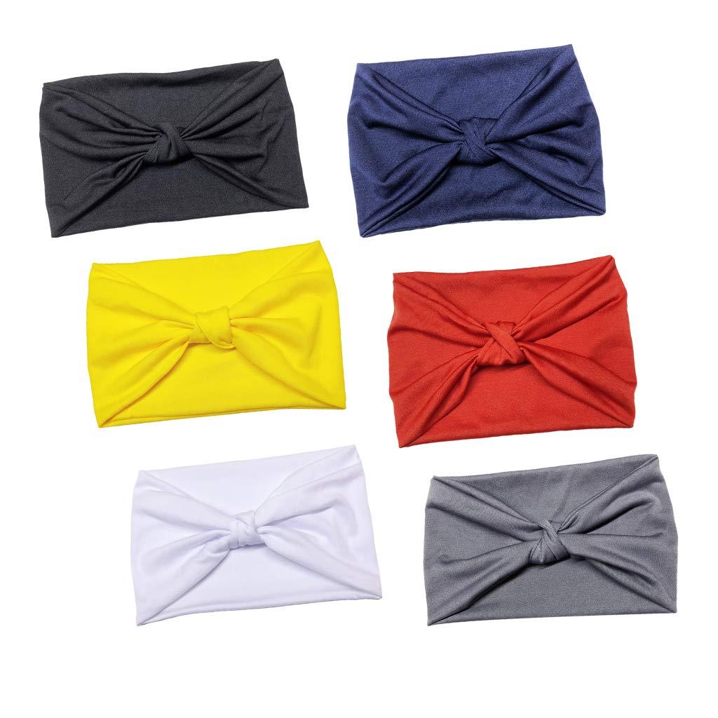 menolana 6x Solid Knot Headbands Turban Headwraps Yoga Running Sport Twisted Hairband