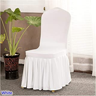 Jeansame-Store 17 Colours Skirted Chair Covers Spandex Lycra Universal Ruffled Chair Covers Wedding Hotel Banquet Decoration Ruched Thick,White,Fit All Chairs