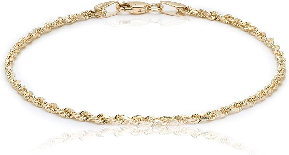 Prins jewels bracciale in oro giallo 750, 18 carati, corda-br-1-18