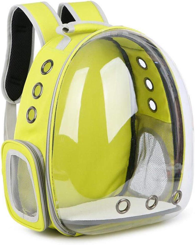 GHGJU Transparent Space Pet Backpack Dog Cat Portable Backpack Travel Bag Pet Supplies (color   Yellow)