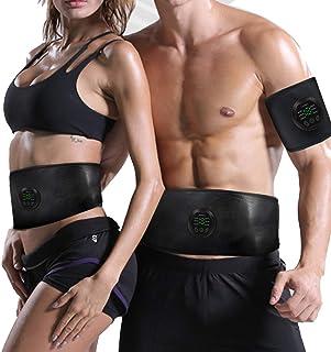 Aooeou Electroestimulador Muscular EMS Cinturón Abdominal, USB Rechargeable Estimulador Muscular, ABS Trainer aparatos para Hacer Ejercicio Gym en casa, Unisex, para 55-105cm Cintura