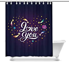 Motivational Quotes Stars in Your Eyes with Galaxy House Decor Shower Curtain for Bathroom, Decorative Bathroom Shower Cur...
