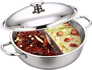 Casserole Chinoise en Acier Inoxydable Hot Pot Wok avec Couvercle pour cuisinière à gaz, cuisinière à Induction
