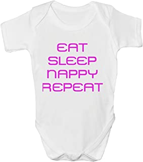 2Personal EAT SLEEP Nappy Repeat Funny Mädchen Strampler Baby Weste – Alter 2 â €3