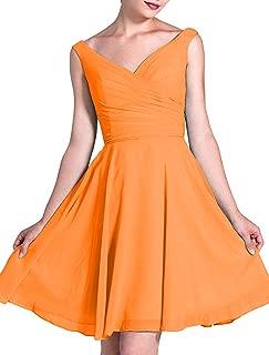 CladiyaDress Women V Neck Chiffon A Line Ruffles Bridesmaid Dress Party Gown D236LF