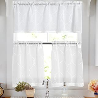 Vangao Tier Curtains White Embroidered Set with Valance Moroccan Trellis Pattern for Kitchen Bathroom,36 inches,White,Set Total 3 Pcs