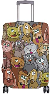 Mydaily Kitten Cats Dogs Cartoon Luggage Cover Fits 18-32 Inch Suitcase Spandex Travel Protector