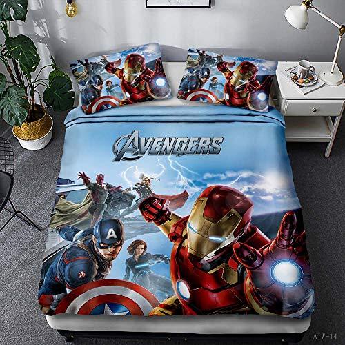 Kseyic Marvel Avengers Juego de ropa de cama de 2/3 piezas, Spiderman, Batman, Hulk, superhéroes,...