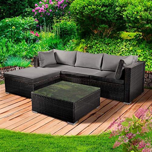 BRAST Poly-Rattan Gartenmöbel Lounge Set 15 Modelle 3 Farben 4-12 Personen Aluminium Sitzgruppe ROYAL Schwarz