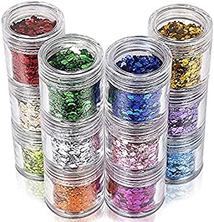 Teenitor 12 Boxes Chunky Glitter, Colorful Mixed Paillette Eye Shadow Body Nail Face Lips Hair Iridescent Flakes Sparkles, Cosmetic Party Festival Slime Supplies Powder Sequins