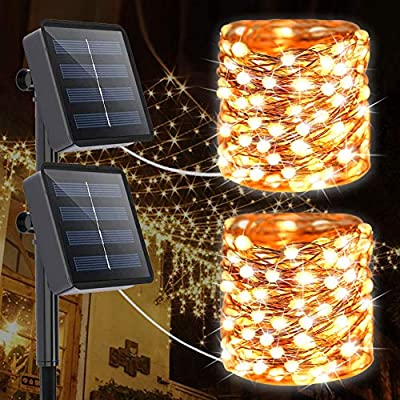 Solar Lighting Outdoor String Lights, 2 Pack 200 Led (Upgrade 3 Times Bigger Lamp Beads) Super Bright Fairy Lights with 8 Lighting Modes Waterproof Decoration Copper Wire Lights(Warm White)
