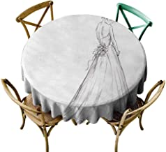 Zmlove Bridal Round Tablecloth Fairytale Ending of a Love Story Princess Sketchy Bride with Flowers Image Easy to Clean Black and White (Round - 47
