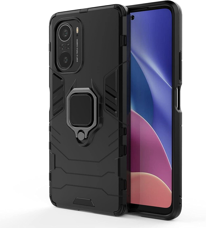 GOGME Funda para Xiaomi Poco F3 / Mi 11i 5G, Shockproof Carcasa con 360 Grados Giratorio Anillo Kickstand y Soporte de Coche Magnético, Hard PC y Silicona TPU Tough Armor Case Cover. Negro