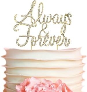 Always & Forever GOLD Cake Topper | Premium Sparkly Crystal Rhinestones | Wedding Anniversary Vow Renewal Bridal Shower Decoration Ideas | Perfect Keepsake (Always&Forever Gold)