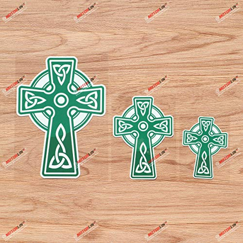 Celtic Cross Trinity Knot Symbol Green Vinyl Decal Sticker - 3 Pack Glossy, 3 Inches, 4 Inches, 6 Inches for Car Laptop Window 06200