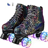 Roller Skate Shoes for Women&Men Classic PU Leather High-top Double-Row Roller Skates for Beginner, Professional Indoor Outdoor Four-Wheel Shiny Roller Skates for Girls Unisex (40, Black)