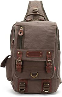 IPOTCH Casual Canvas Leather Crossbody Messenger Sling Bag Chest Bag For Men Green