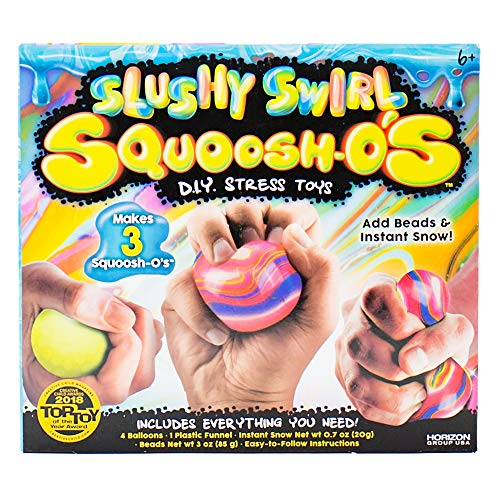 Squoosh-Os Slushy Swirl DIY Fidget Toys by Horizon Group USA, Make 3 De-Stressing Toys, DIY Stress Balls for Kids, Includes Balloons, Funnel, Instant Snow, Crunchy Beads & More
