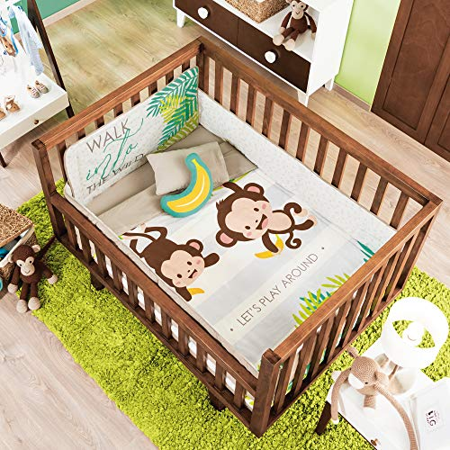For Sale! JORGE'S HOME FASHION INC Happy Monkeys Baby Boys Crib Bedding Nursery Set 6 PCS 100% Cot...