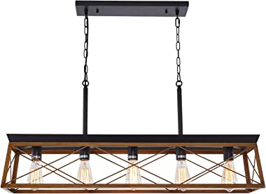 HMVPL 5-Lights Industrial Swag Chandeliers Pendant Lighting Fixtures, Farmhouse Hanging Ceiling Island Light for Kitchen Dini